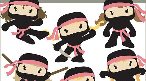 ninja clip art personal and limited commercial cute girl