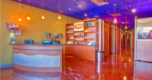 This Vibrant Salon Floor Was Resurfaced With A Decorative Epoxy Floor System Ideal For Resurfacing Concrete Flo Epoxy Floor Concrete Floors Industrial Flooring