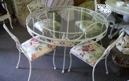 Vintage Wrought Iron Patio Table & Chairs ~ currently painted bronze. - Vintage Wrought Iron Patio Set For The Love Of Vintage