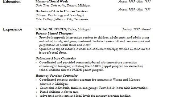 modern social worker resume