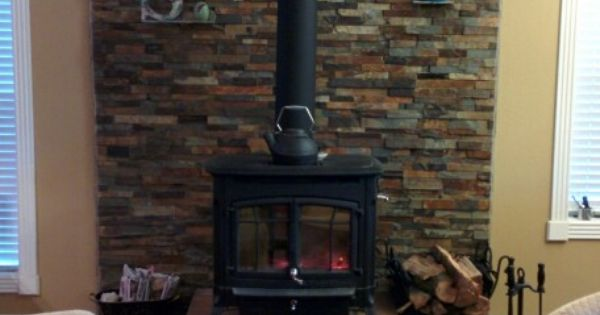 Wood Stove Stacked Ledge Stone Wall With Slate Shelves