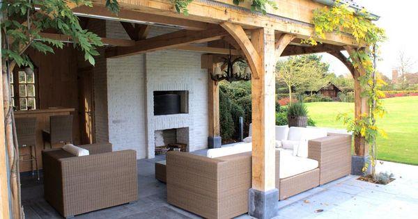 Overdekt terras open haard overkapping houten bijgebouwen pinterest haard terras en for Overdekt terras model