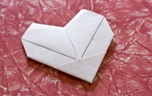 Simple folded paper heart origami