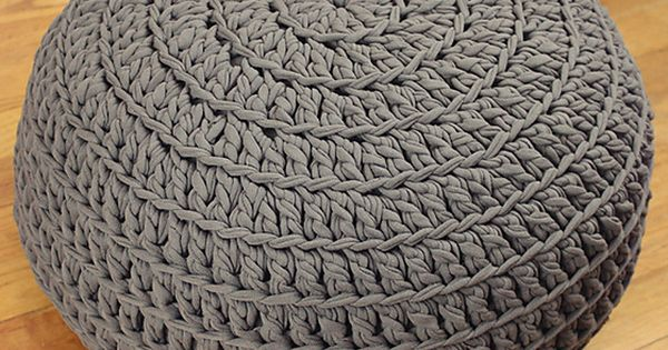 Free crochet pattern poof floor pillow pouf ottoman crochet projects pinterest puder - Crochet pouf ottoman pattern free ...