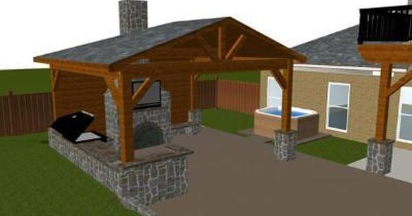 Covered patio with outdoor fireplace and kitchen design rendering