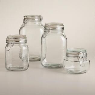 Stainless Steel Lidded Spice Jars Set Of 6 Glass Storage Jars