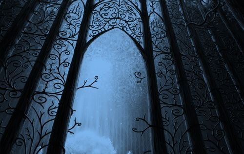 forest gates at night