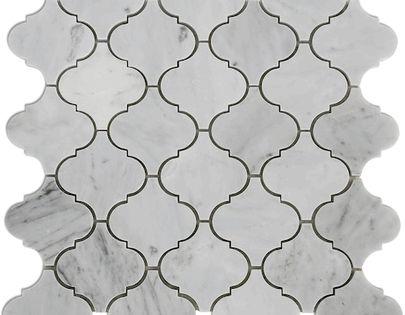 The carrara bianco honed arabesque marble mosaic tile is for Pisos de marmol de carrara