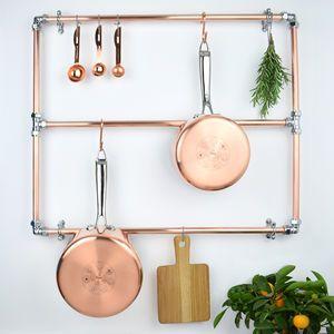 Copper And Chrome Pan Rack Kitchen Pan Hanger Pan Storage Copper Pots