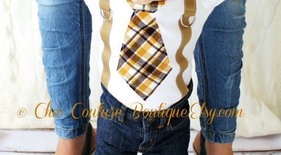 Baby Boy Birthday Gift.Tie Onesie and Suspenders. Thanksgiving Fall Harvest Plaid of