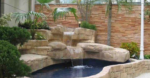 Estanque de piedra con cascada water pinterest - Estanque terraza piso ...