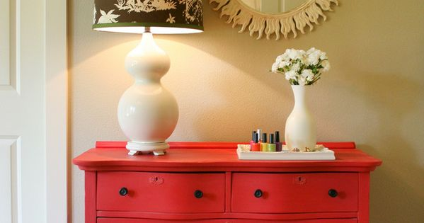 Chalkboard Paint Dresser! Label those drawers... I just like the red dresser.