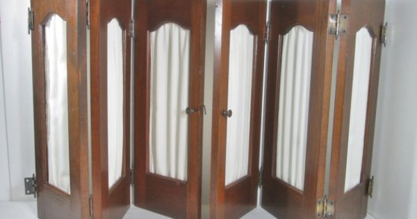 Vintage wooden interior window shutters with curtain for Spanish style interior shutters
