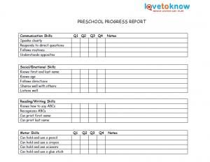 Printable preschool progress reports school days for Montessori report card template