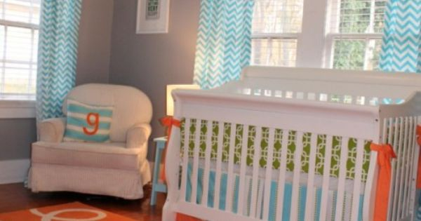 Love how they painted the ceiling and down some of the wall, then started w/ the wall color! adorable baby boy nursery.