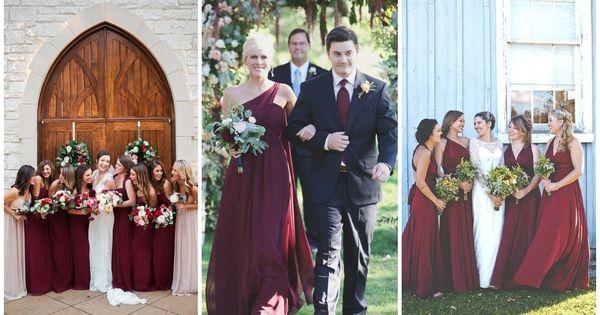 Burgundy Marsala Cabernet Bridesmaid Dresses Autumn