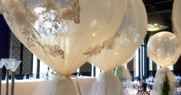 Diamond clear 3ft balloons wrapped in custom tulle wedding decorating ideas pinterest