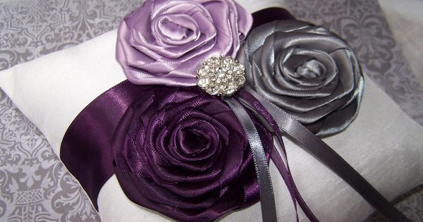 grey and plum wedding | Ring Bearer Pillow - Dark Plum, Lilac,
