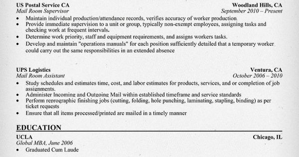 mailroom supervisor resume exle for free