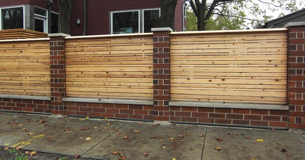 Wood Fence With Brick Columns Garden Pinterest Wood