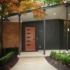 Salmon Colored Brick House Mid Century Google Search Brick Exterior House Mid Century Exterior House Exterior