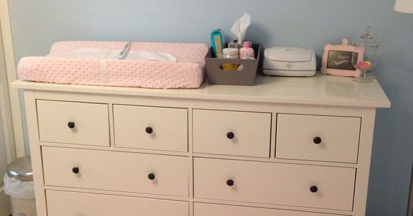 Light Blue Amp Pink Nursery With Ikea Dresser As Changing