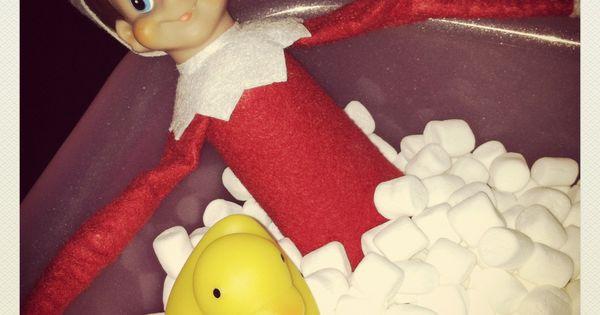 elf on the shelf ideas: Elf cutting a mattress tag! Oh no!!