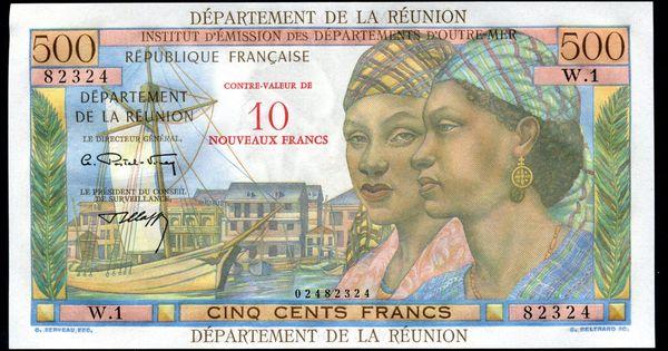 Reunion Banknotes 10 Nouveaux Francs On 500 Francs Banknote 1967