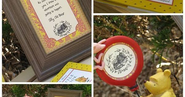 Winnie The Pooh Birthday Party with Pooh frame and poem, Pooh's Little