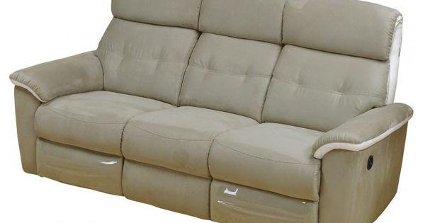 Canap relax lectrique antonia microfibre gris cuir blanc for Monsieur meuble canape cuir blanc