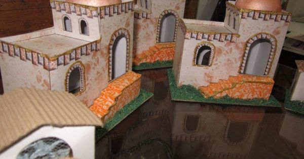 Como hacer una casita tipo bel n para pesebre nacimiento - Casitas para pesebre de carton ...