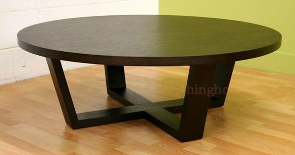 Round Black Coffee Table Sturdy And Durable The Thick Black Stained Dark Wood Frame And Legs