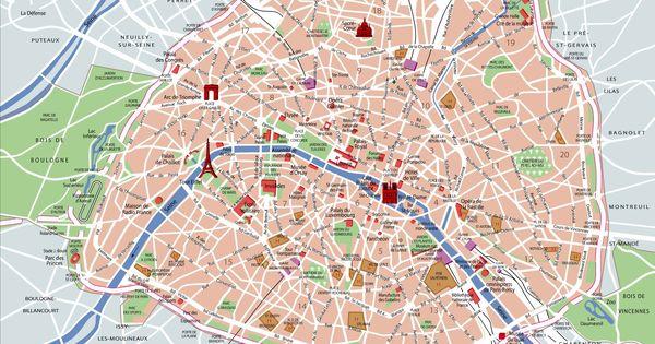 Carte touristique de paris r seaux m andres des rues et for Carte touristique de paris