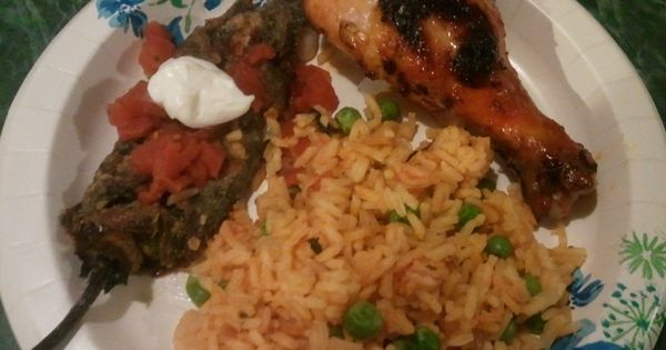 Chili Relleno, red chili chicken and mexican rice   My cooking skills ...