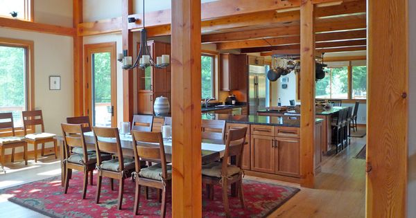 Kitchen layout ideas perfect kitchen plans for post and for Post and beam kitchen ideas