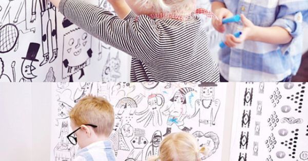 KIDS ROOM IDEA: mount a large roll of blank paper to the