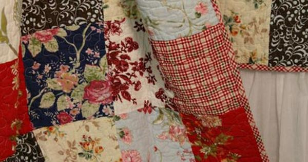 French Country Cottage Red Blue Quilt Throw detail Emilia French ...love the