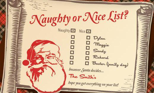 cute printable christmas naughty or nice list party invitation        downloadandprint com
