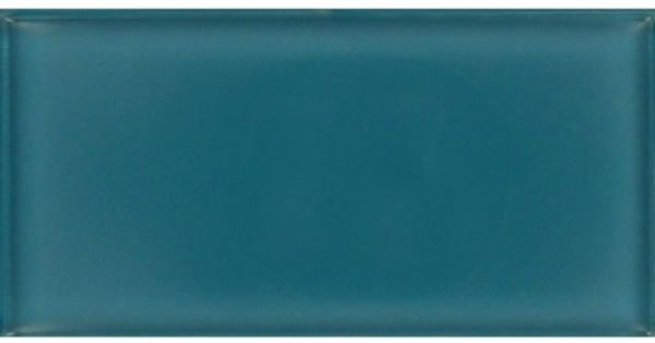 Dark Teal Green 3 x 6 Glossy Glass Tile