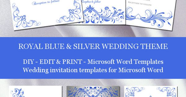 Wedding Invitation Designs Royal Blue: Royal Blue And Silver Wedding Invitation Templates For