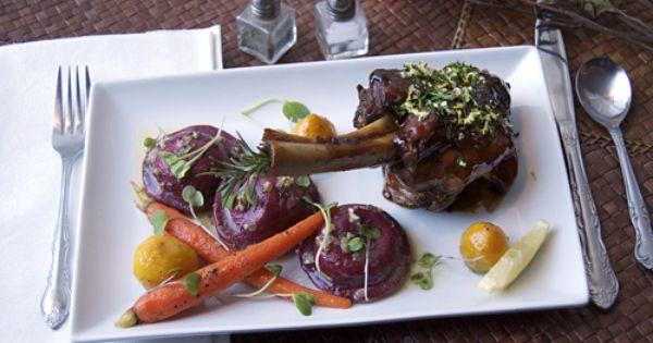 Braised Lamb Shank, Goat Cheese Beet Ravioli & Confit Root Vegetables ...