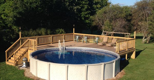 Above ground pool deck for 24 ft round pool deck is 28x28 for Pool 22 design
