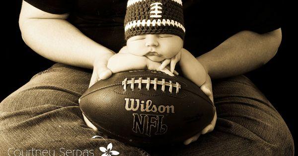 Baby Boy Newborn oFootball Beanie Hat - Cute Photo Prop.