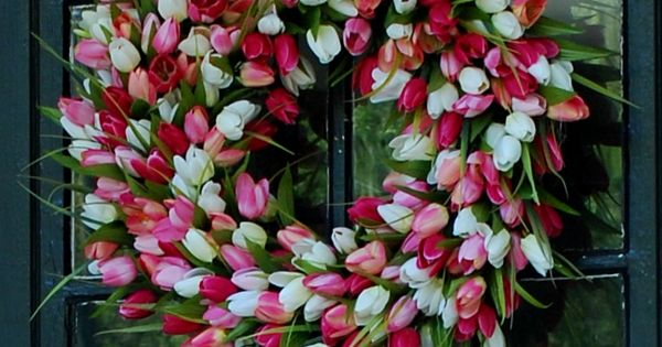wreath made with faux tulips!