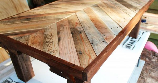 DIY coffee table made from wood pallets.