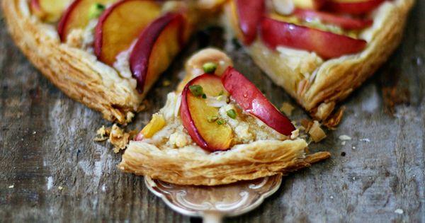 // nectarine & pistachio tart