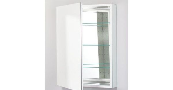 Pl 23 x 30 frameless medicine cabinet left hinged with for Flat bathroom mirror