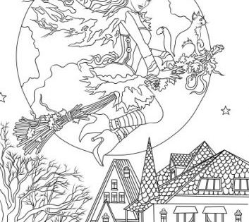 Horror Scenes Witch Witch Coloring Pages Halloween Coloring Pages Fall Coloring Pages