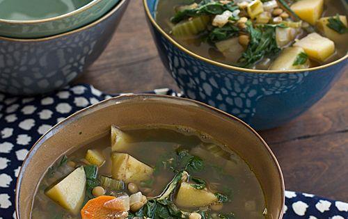 Chard, Lentil & Potato Slow Cooker Soup | Recipe | Brown lentils ...