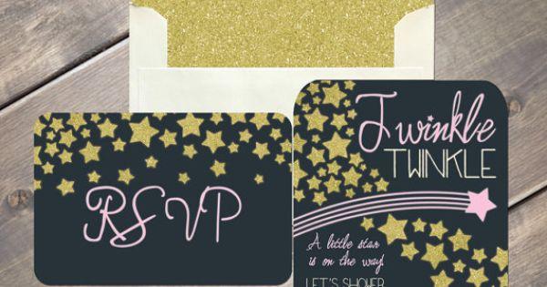 twinkle twinkle little star invitation  baby shower